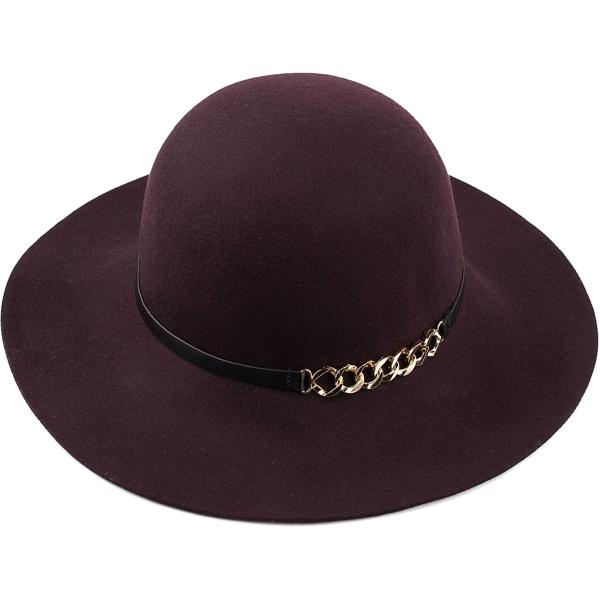 wholesale Hats - 100 Percent Wool w/ Brim FW40 - Plum -