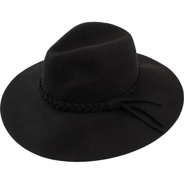 wholesale Hats - 100 Percent Wool w/ Brim FW25 - Black Western Floppy -
