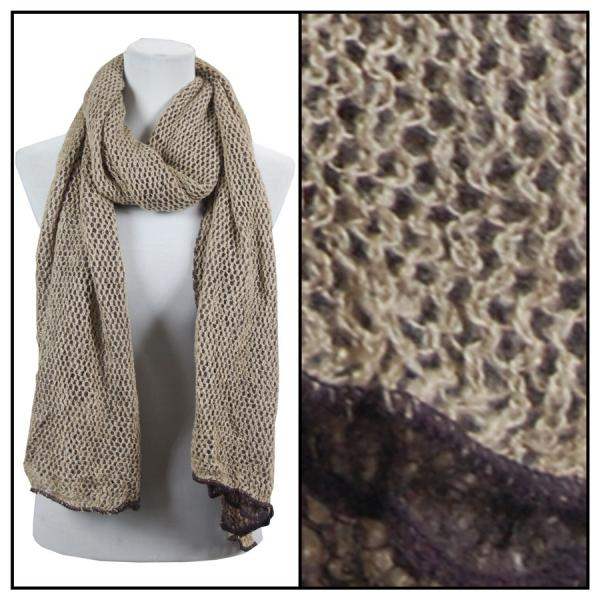 wholesale Winter Oblong Scarves - Knitted 3 in 1 Crochet Two-Ply 8086 - Brown-Beige -