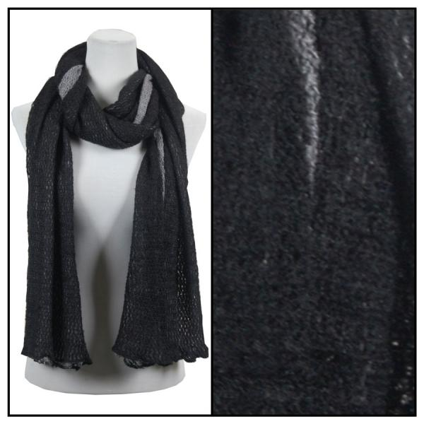 wholesale Winter Oblong Scarves - Knitted 3 in 1 Crochet Two-Ply 8086 - Black-Grey -