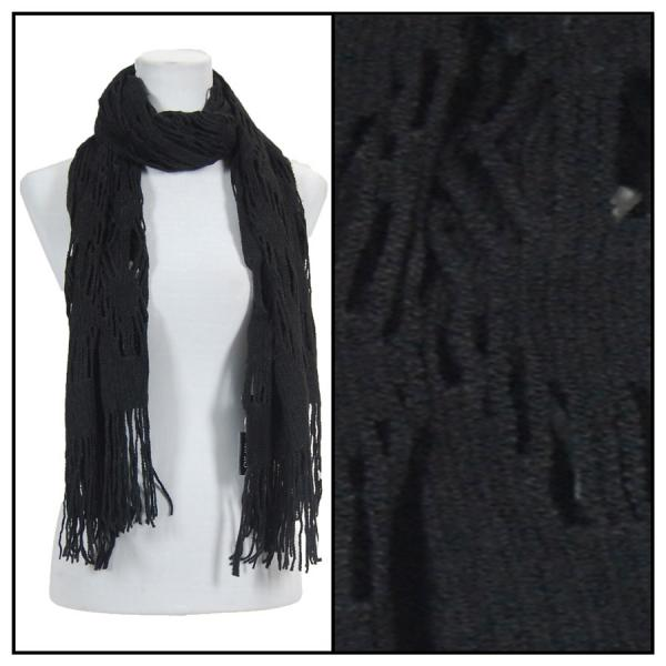wholesale Winter Oblong Scarves - Knitted Abstract Weave 4101 - Black -