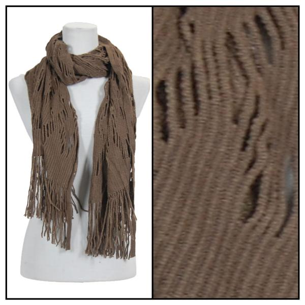 wholesale Winter Oblong Scarves - Knitted Abstract Weave 4101 - Brown -