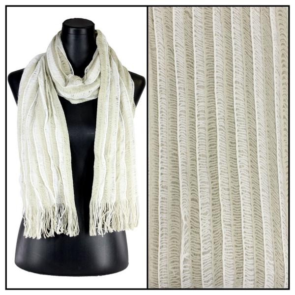 wholesale Winter Oblong Scarves - Knitted Knitted Stripes 1120 - Ivory -