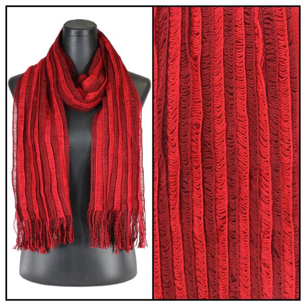 wholesale Winter Oblong Scarves - Knitted Knitted Stripes 1120 - Red -