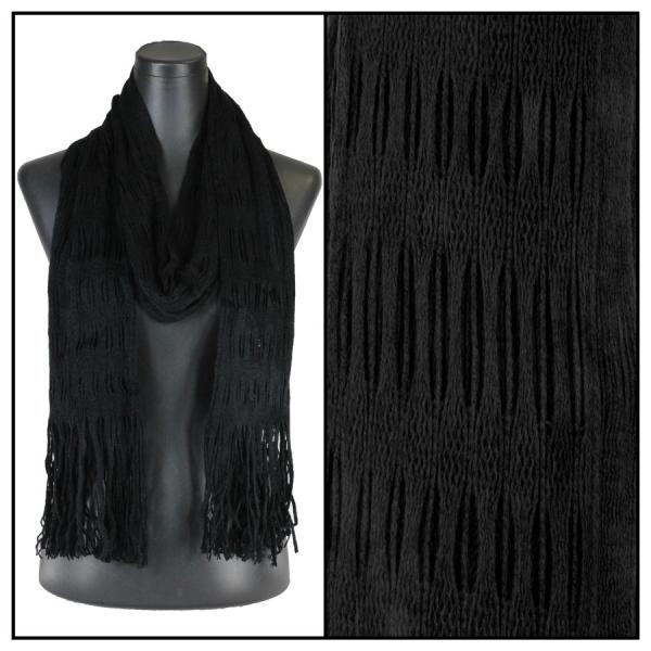 wholesale Winter Oblong Scarves - Knitted Long Two Way Knit Tube - Black -