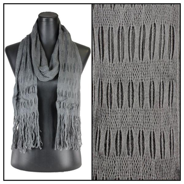 wholesale Winter Oblong Scarves - Knitted Long Two Way Knit Tube - Grey -