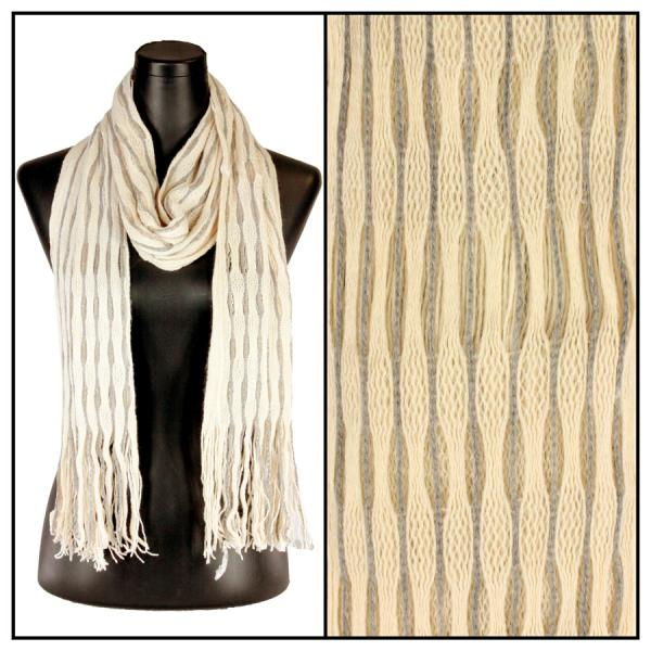 wholesale Winter Oblong Scarves - Knitted Long Two Way Knit Tube - Beige-Grey Striped -