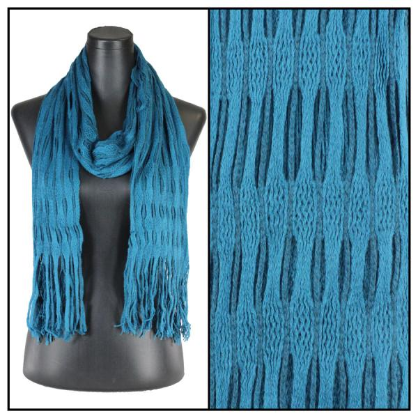 wholesale Winter Oblong Scarves - Knitted Long Two Way Knit Tube - Teal Blue -
