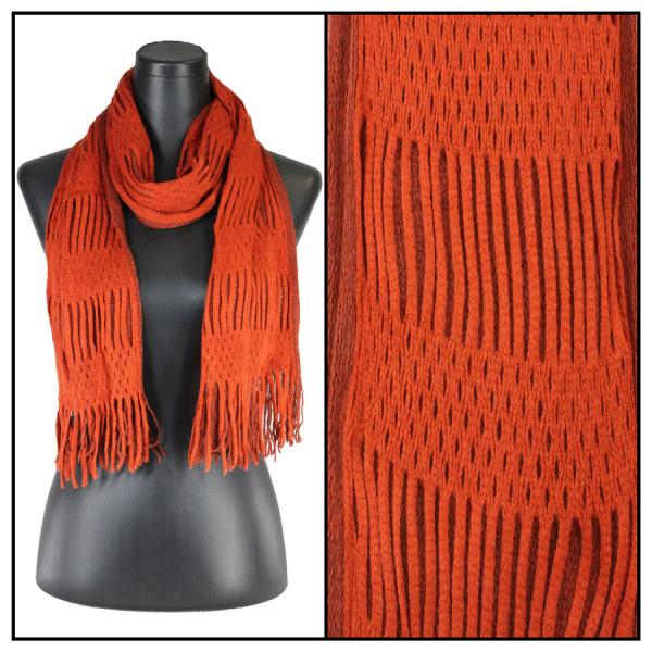 wholesale Winter Oblong Scarves - Knitted Two Way Knit Tube - Orange-Paprika -