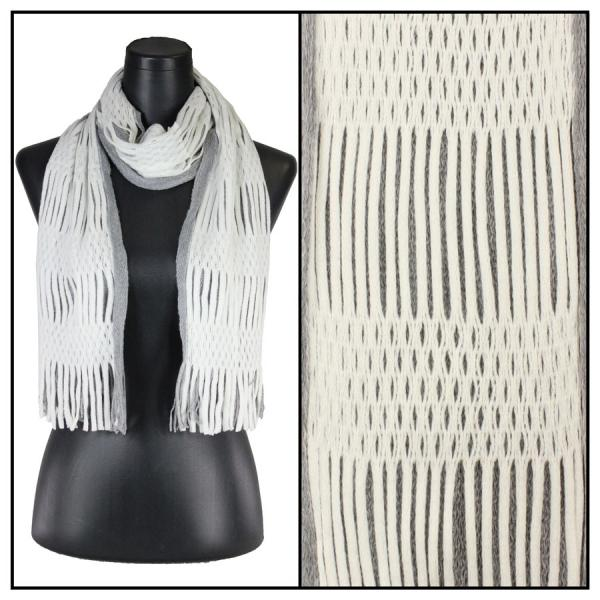 wholesale Winter Oblong Scarves - Knitted Two Way Knit Tube - Ivory-Grey -