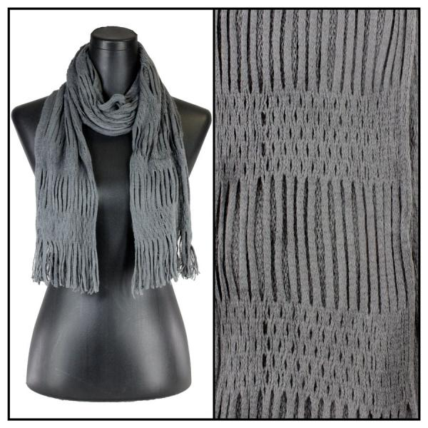 wholesale Winter Oblong Scarves - Knitted Two Way Knit Tube - Charcoal -