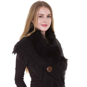 wholesale Faux Fur Collar w/ Coconut Button 1270 Black -
