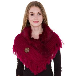 wholesale Faux Fur Collar w/ Coconut Button 1270 Wine -