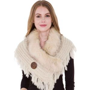 wholesale Faux Fur Collar w/ Coconut Button 1270 Ivory-Beige -