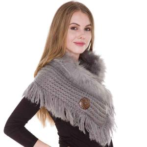 wholesale Faux Fur Collar w/ Coconut Button 1270 Grey -