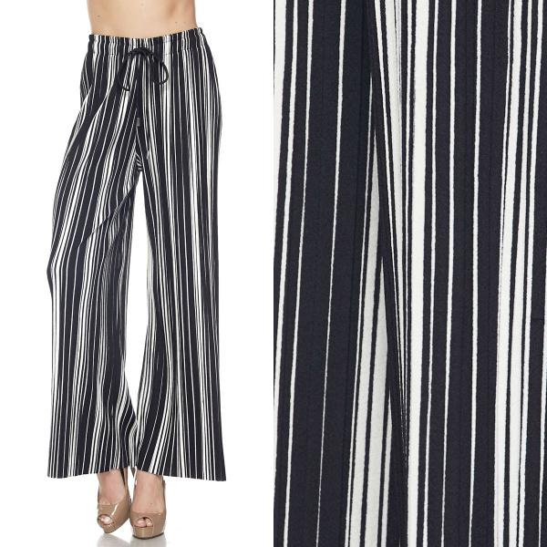 wholesale Pleated Wide Leg Pants - Stretch Twill #06 Double Stripe Black-White - One Size Fits All