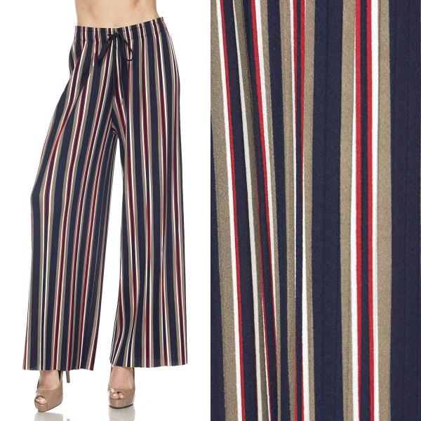 wholesale Pleated Wide Leg Pants - Stretch Twill #05 Striped Navy-Taupe-Red - One Size Fits All