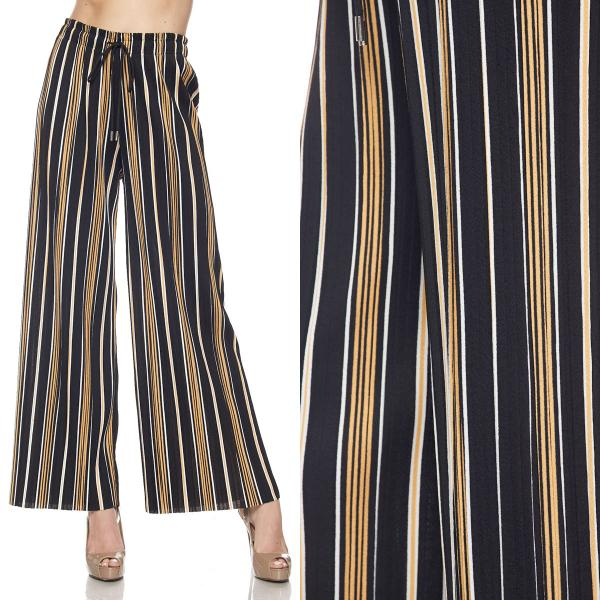wholesale Pleated Wide Leg Pants - Stretch Twill #07 Striped Black-Gold-White - One Size Fits All