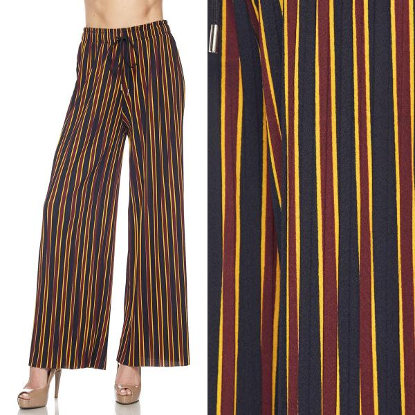 wholesale Pleated Wide Leg Pants - Stretch Twill #08 Striped Navy-Burgundy-Yellow - Plus Size (XL-2X)