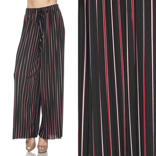 wholesale Pleated Wide Leg Pants - Stretch Twill #09 Striped Black-Red-White - Plus Size (XL-2X)