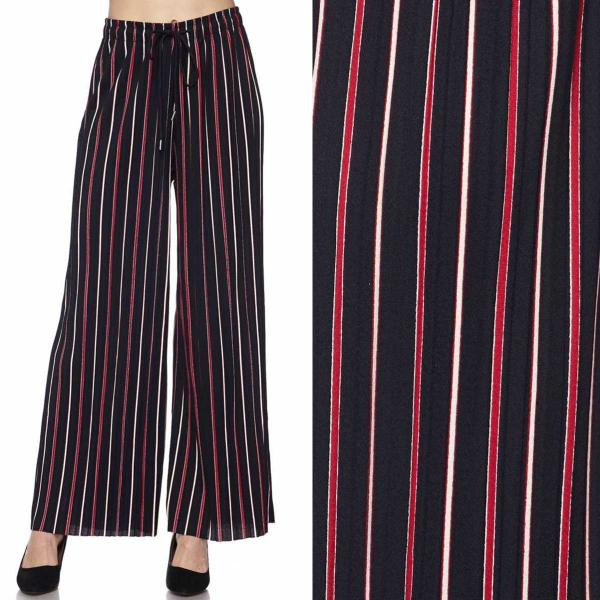 wholesale Pleated Wide Leg Pants - Stretch Twill #12 Striped Navy-Red - One Size Fits All