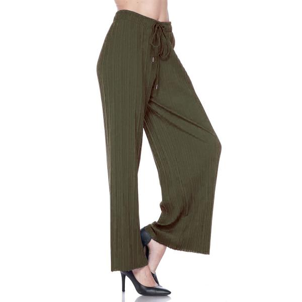 wholesale Pleated Wide Leg Pants - Stretch Twill Solid Olive - One Size Fits All