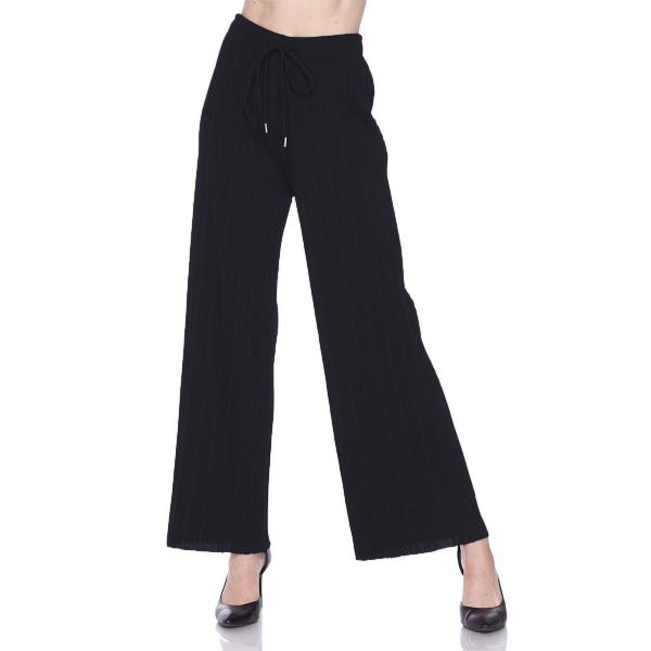 wholesale Pleated Wide Leg Pants - Stretch Twill Solid Black - Plus Size (XL-2X)