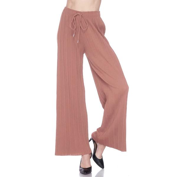 wholesale Pleated Wide Leg Pants - Stretch Twill Solid Mauve - Plus Size (XL-2X)