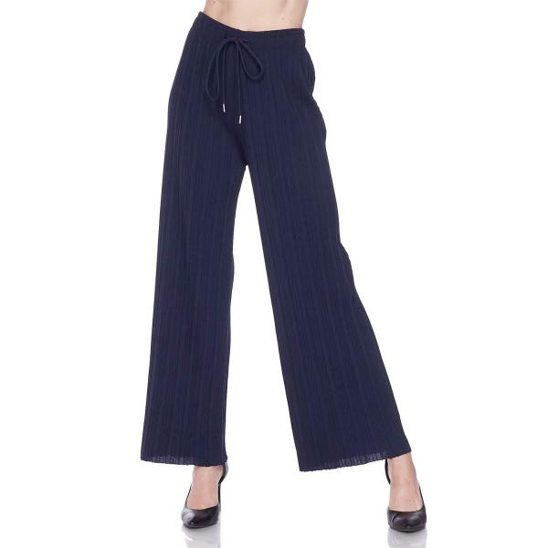 wholesale Pleated Wide Leg Pants - Stretch Twill Solid Navy - Plus Size (XL-2X)