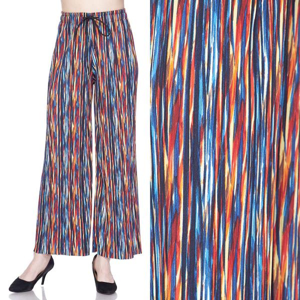 wholesale Pleated Wide Leg Pants - Stretch Twill #14 Multi Stripes - One Size Fits All