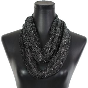 Wholesale  Black-Silver Infinity Scarves - Millionaire Metallic 147 -
