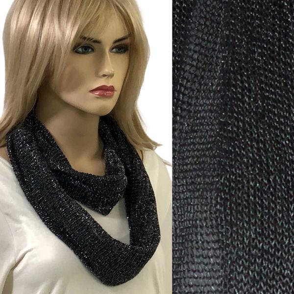 wholesale Infinity Scarves - Millionaire Metallic 147 Black-Silver -