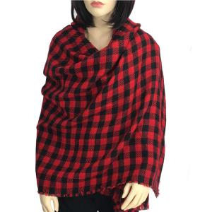 wholesale Oblong Scarves/Shawls - Buffalo Check 9088* Red and Black -