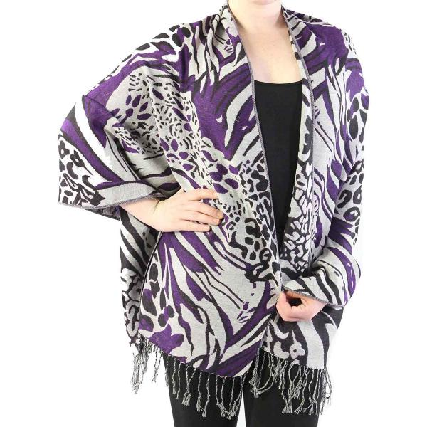 Shawls - Abstract Animal Grey/Black/Purple -