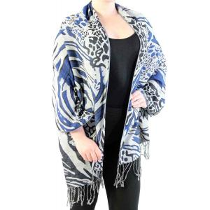 Shawls - Abstract Animal Grey/Black/Royal -