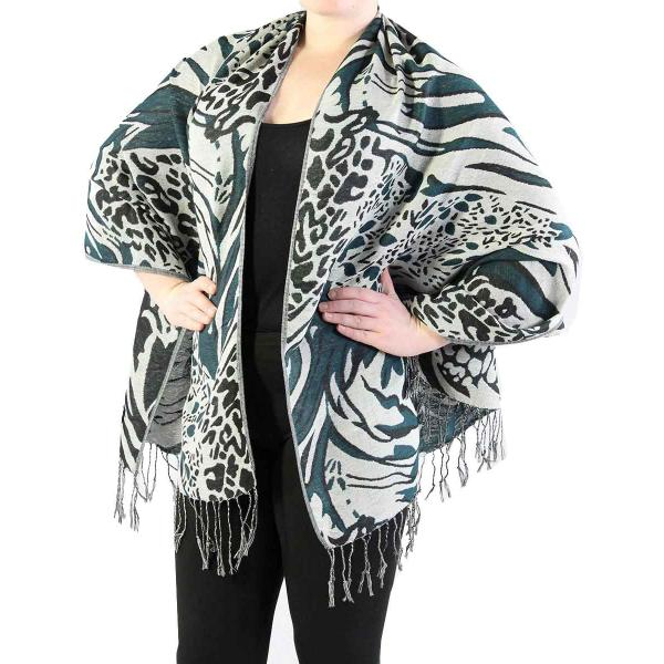 Shawls - Abstract Animal Grey/Black/Seagreen -