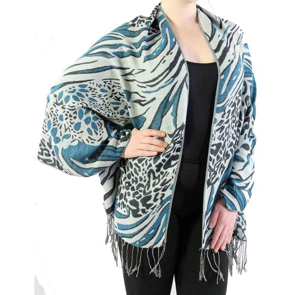 Shawls - Abstract Animal Grey/Black/Teal Blue -