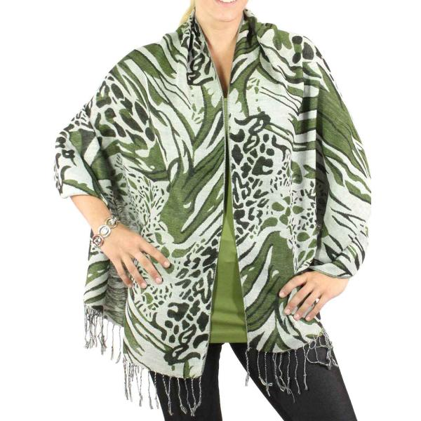 Shawls - Abstract Animal Natural/Black/Green -