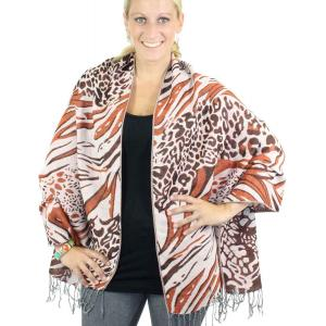 Shawls - Abstract Animal Natural/Brown/Paprika -