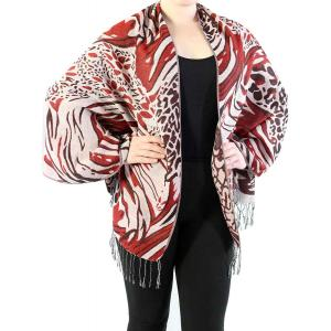 Shawls - Abstract Animal Natural/Merlot/Wine -