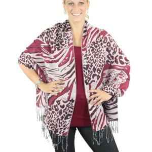 Shawls - Abstract Animal Natural/Wine/Berry -