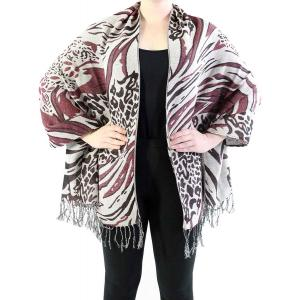 Shawls - Abstract Animal Natural/Wine/Mauve -