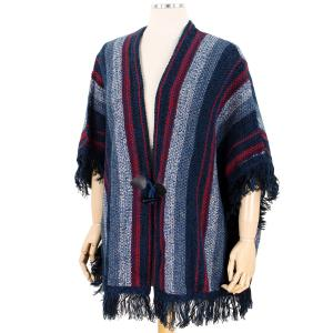 Wholesale  Navy Sweater Cardigan - Multi Color Tasseled 0196 -