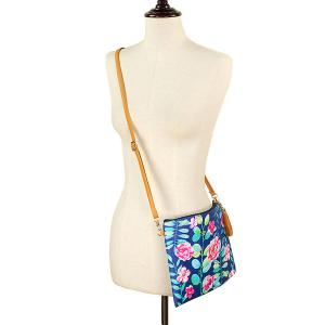 Crossbody Bags & Matching Wristlets Crossbody Bag - 9300 Flower Print Navy -