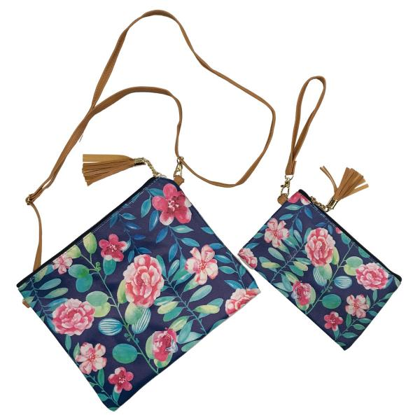 Crossbody Bags & Matching Wristlets Crossbody Bag Set- 9300 Flower Print Navy -