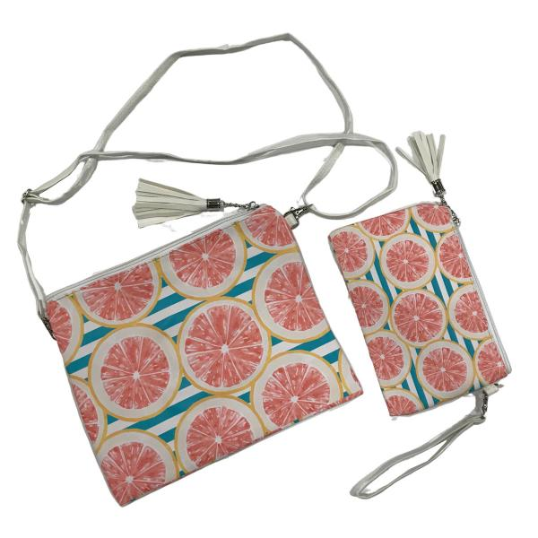 Crossbody Bags & Matching Wristlets Crossbody Bag Set- 9301 Grapefruit Print -