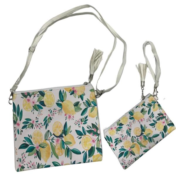 Crossbody Bags & Matching Wristlets Crossbody Bag Set- 9301 Lemon Print -