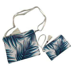 wholesale Crossbody Bags & Matching Wristlets Crossbody Bag set - 9302 Palm Tree Print Navy -