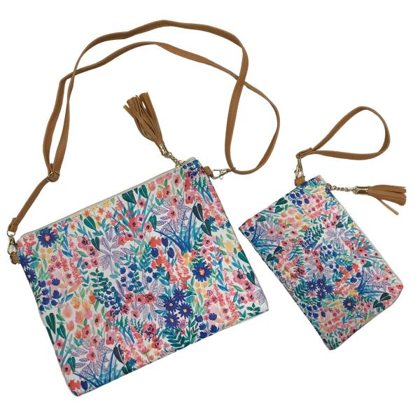Crossbody Bags & Matching Wristlets Crossbody Bag Set - 9304 Flower Print Multi -