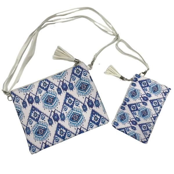 Crossbody Bags & Matching Wristlets Crossbody Bag Set- 9305 Ikat Print Blue -